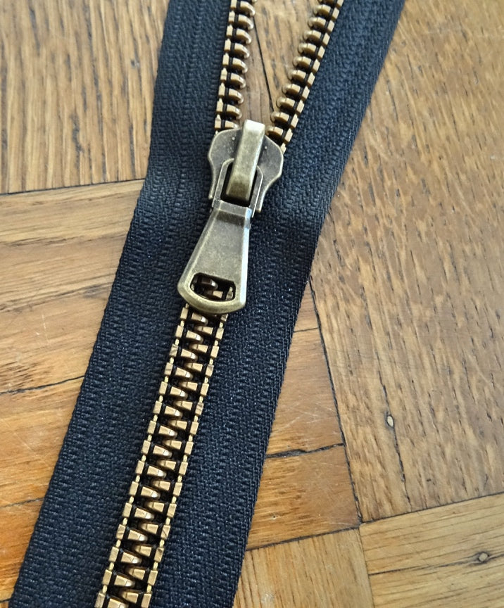 Black Brass No 9 Open Ended 60cm Zip (AVAILABLE TO ORDER)