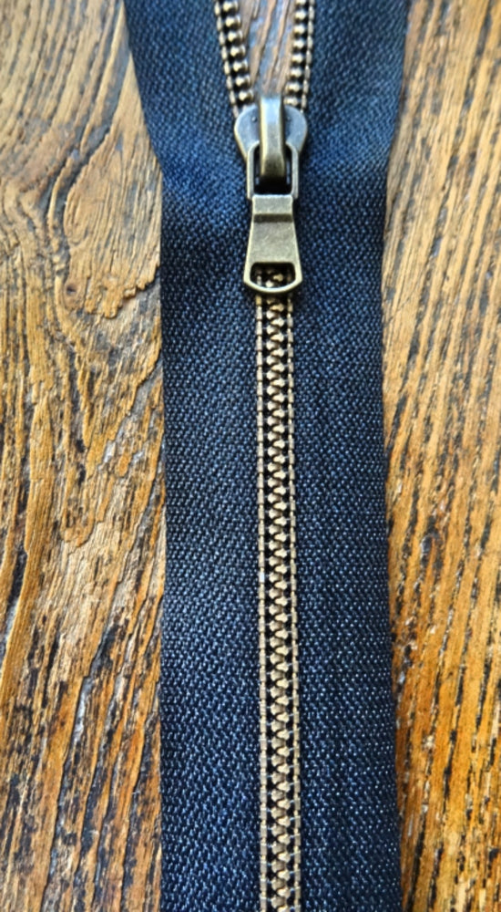 Black No4 Open End 70cm Zip with Brass Metallized Zipper