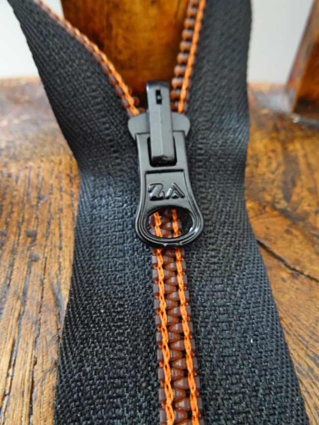 Black Orange No 6 Open Ended 60cm Zip (AVAILABLE TO ORDER)