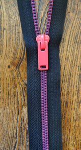 Neon Pink and Black No 6 Closed End 20cm Zip (AVAILABLE TO ORDER)