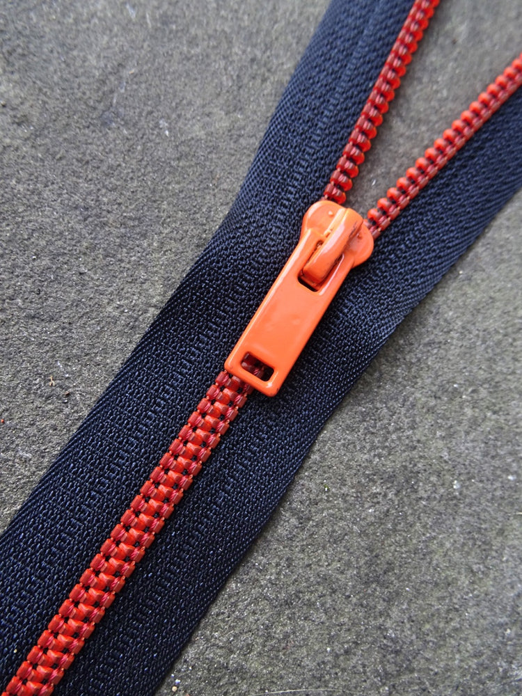 Black and Neon Orange No 6 Closed End 20cm Zip
