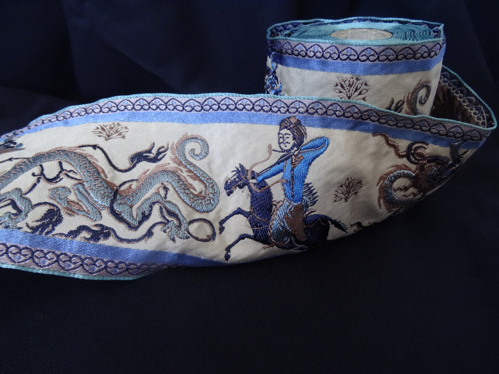 Blue Oriental Scene Ribbon 8cm (AVAILABLE TO ORDER)