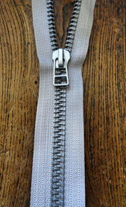 Silver No9 80cm Open End Metallized Zip (AVAILABLE TO ORDER)