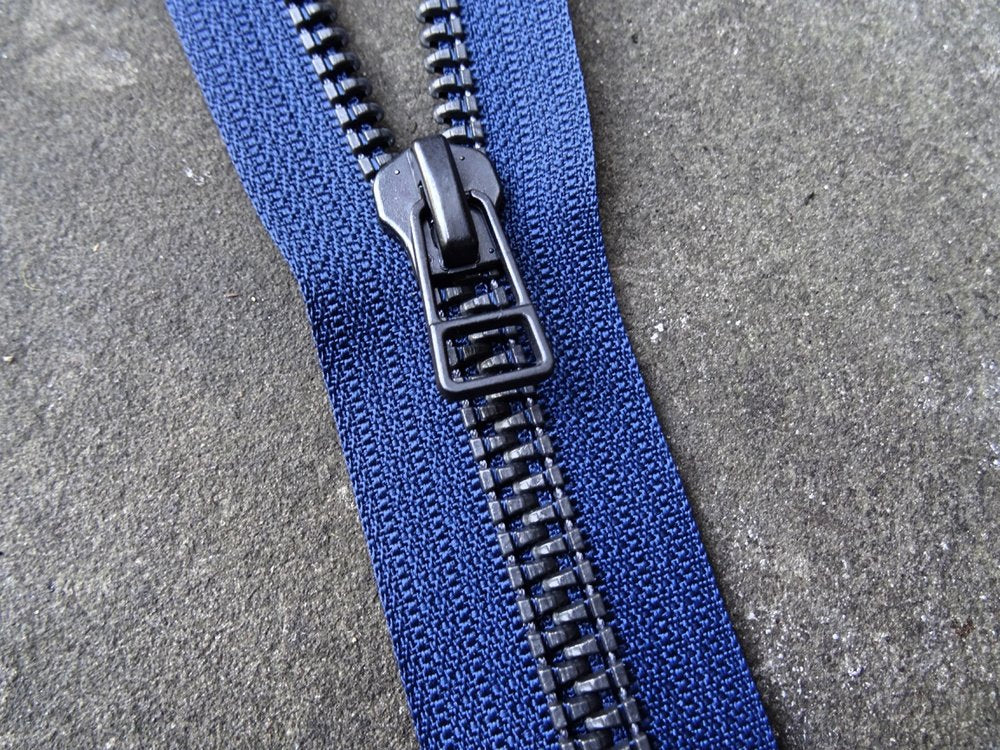 Navy Black Metalised No 9 Zip Closed End 55cm