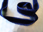 Navy Double Sided Velvet Ribbon with Frilled Edge