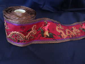Deep Red Oriental Scene Ribbon 8cm (AVAILABLE TO ORDER)