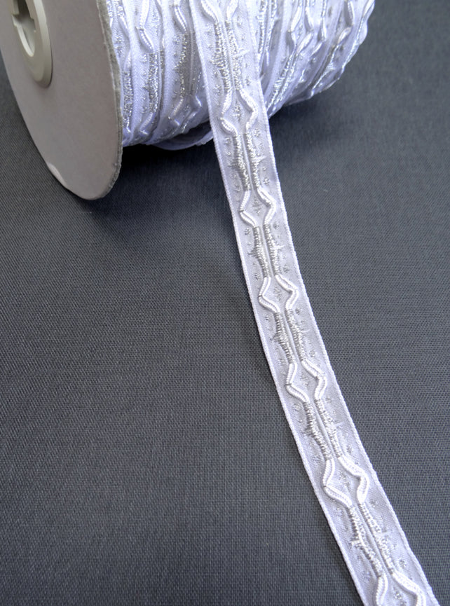 White and metallic Silver Woven Jacquard Ribbon 14mm