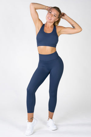 Infinity Navy Laser Cut Sports Bra