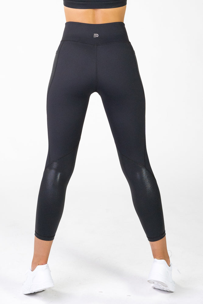 Load image into Gallery viewer, Radiance Gloss Black Pocket 7/8 Leggings