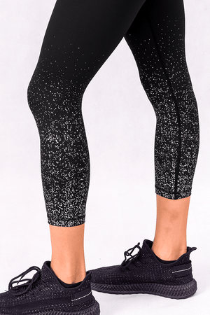 Load image into Gallery viewer, Confetti Glitz Silver High Waisted 7/8 Leggings