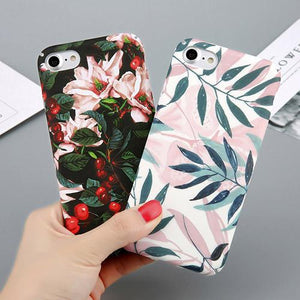 Leaves Print Cover Coque For iPhone