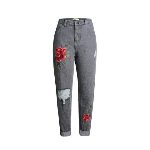 Full Size Ripped Jeans With Rose Embroidery