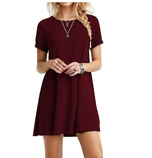 Casual Womens Clothing Simple Short Sleeves Dress