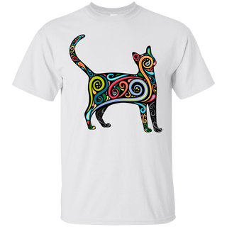 Cat Silhouette With Colorful Swirls - White Tshirt, Hoodie
