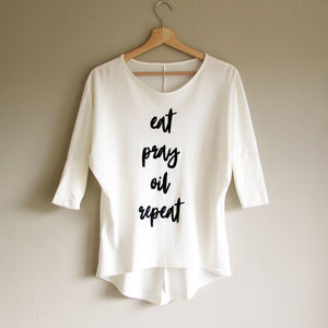 Eat Pray Oil Batwing Top - Ivory