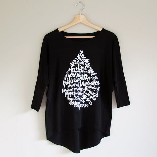 Oil Drop Batwing Top - Black