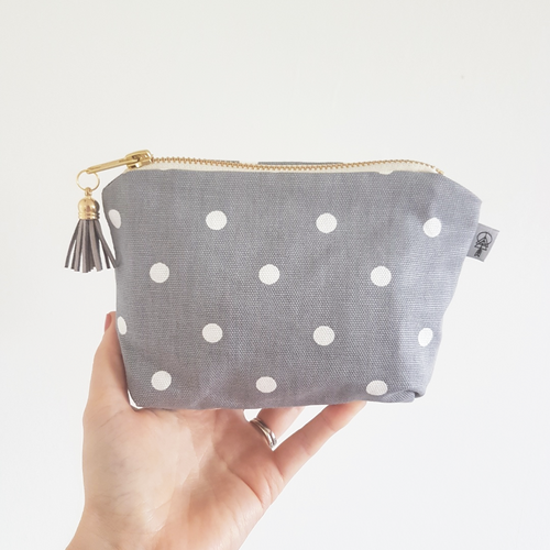 Grey & White Spot Square Essential Oil Case