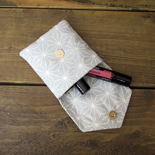 Aqua Geometric Essential Oil Roller Case