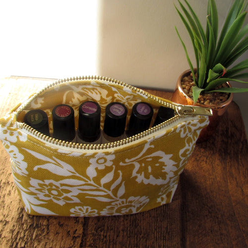 Yellow & White Floral Square Essential Oil Case