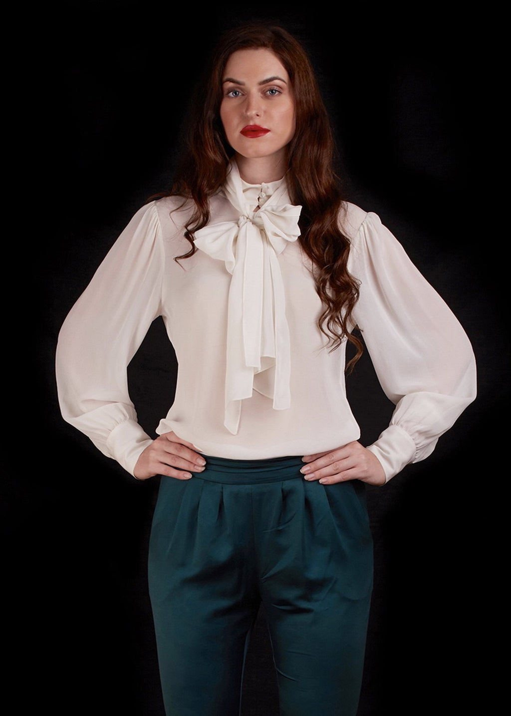 The Imperial Bow Shirt In White Chiffon
