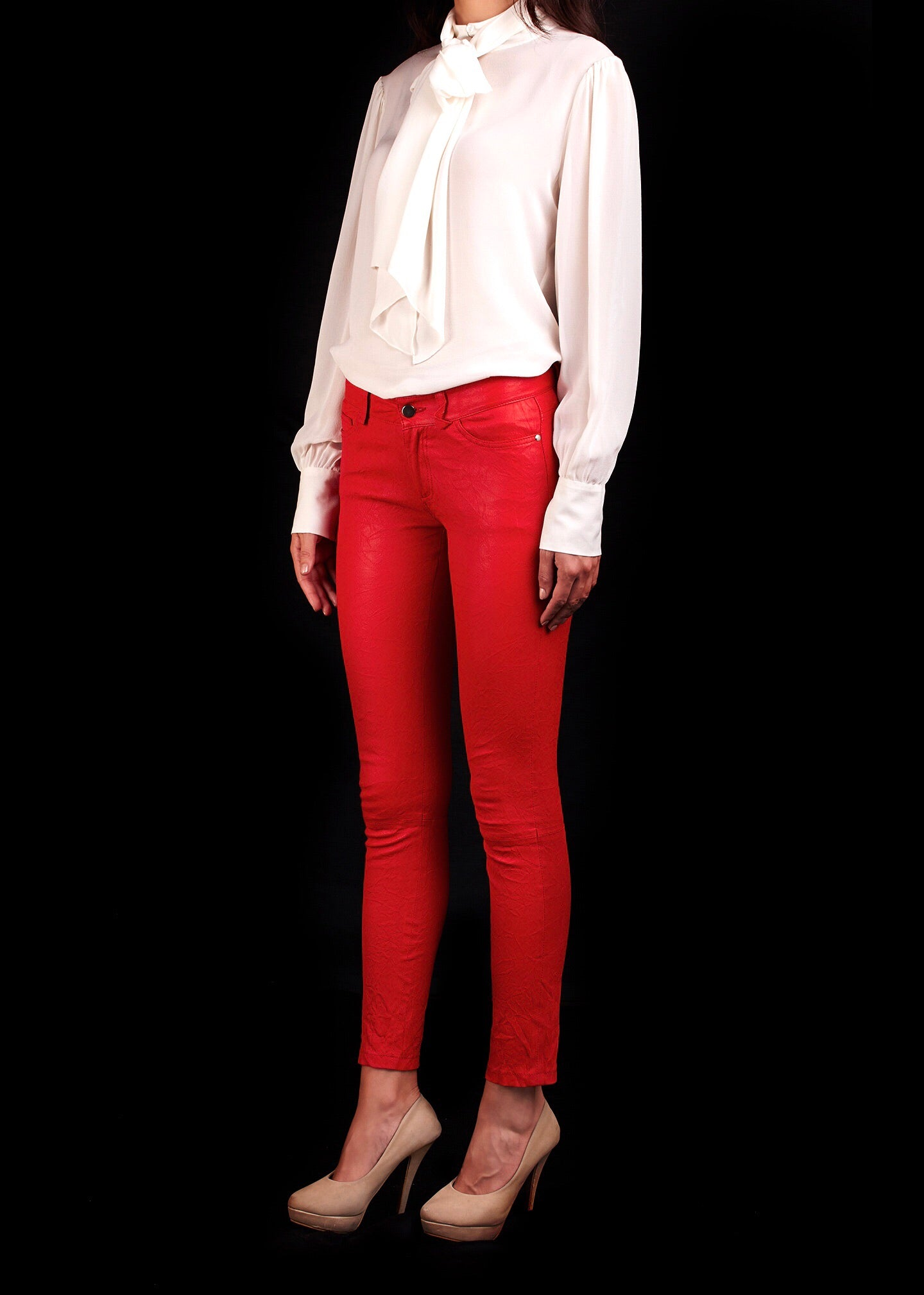 The Tournaline Stretch Leather Jean In Red