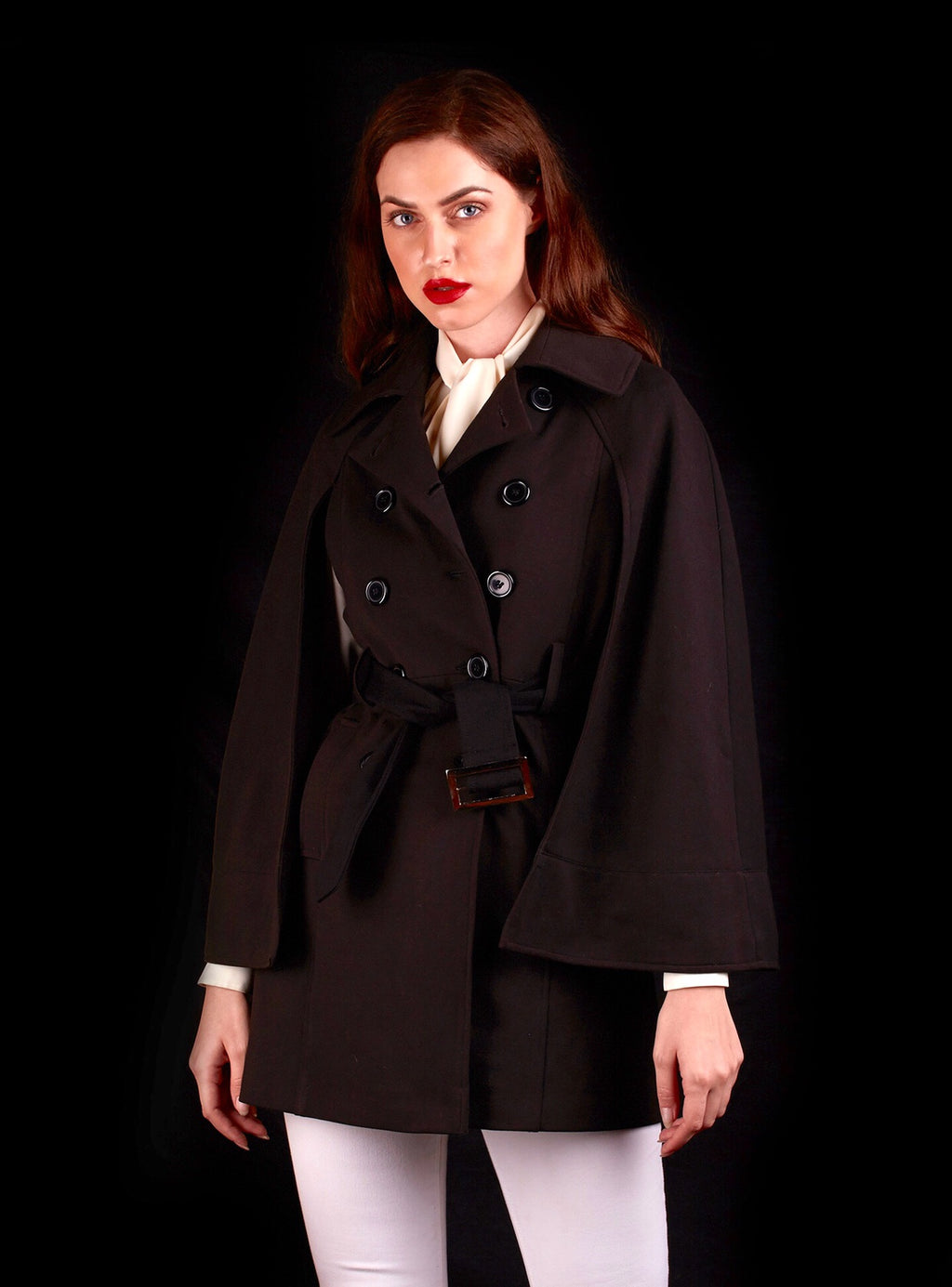 The Opera Cape Jacket In Suiting Fabric