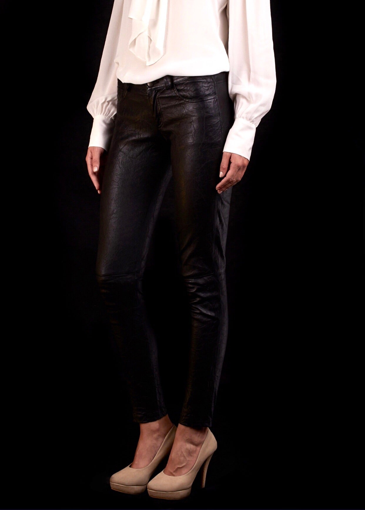 The Tournaline Stretch Leather Jean In Black