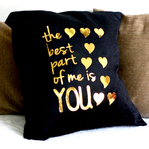 Golden Words Velvet Cushions