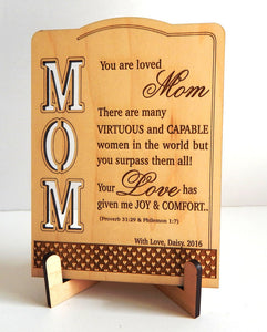 Wooden table top with quote