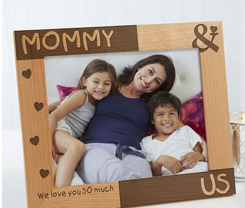 Mom and us wooden engraved photo frame
