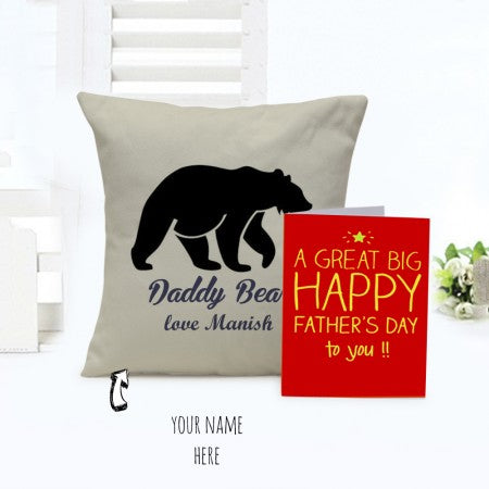 Daddy bear combo of cushion and card