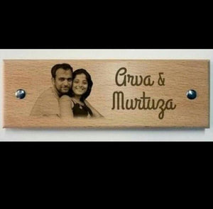Wooden engraved name plate