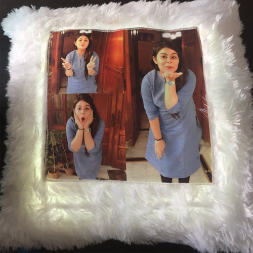 Led Fur Photo Cushion