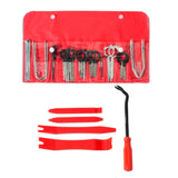 full 20-piece radio removal tool kit with panel removal tools and fastener remover in package and flat lay
