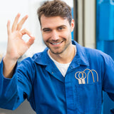 "happy mechanic giving the ""ok"" hand signal"