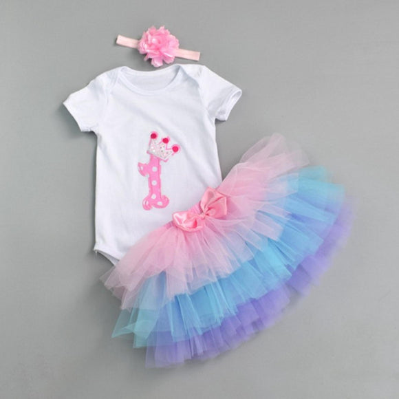 First birthday party dress with matching headband