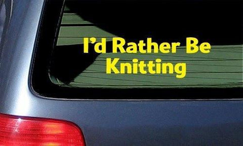 I'd Rather Be Knitting White Vinyl Sticker