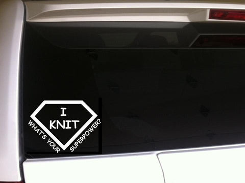 "Knit Superpower vinyl window sticker decal 6"" *C10*"
