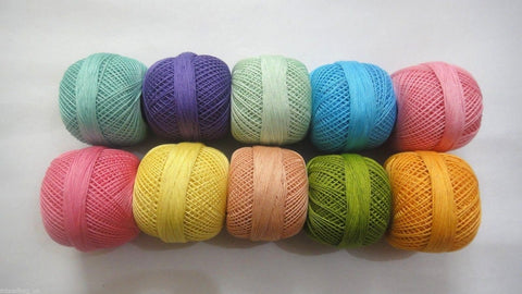 SET of 10 Fluorescent Colors-Cotton Yarn Thread-Crochet Lace Knitting Embroidery