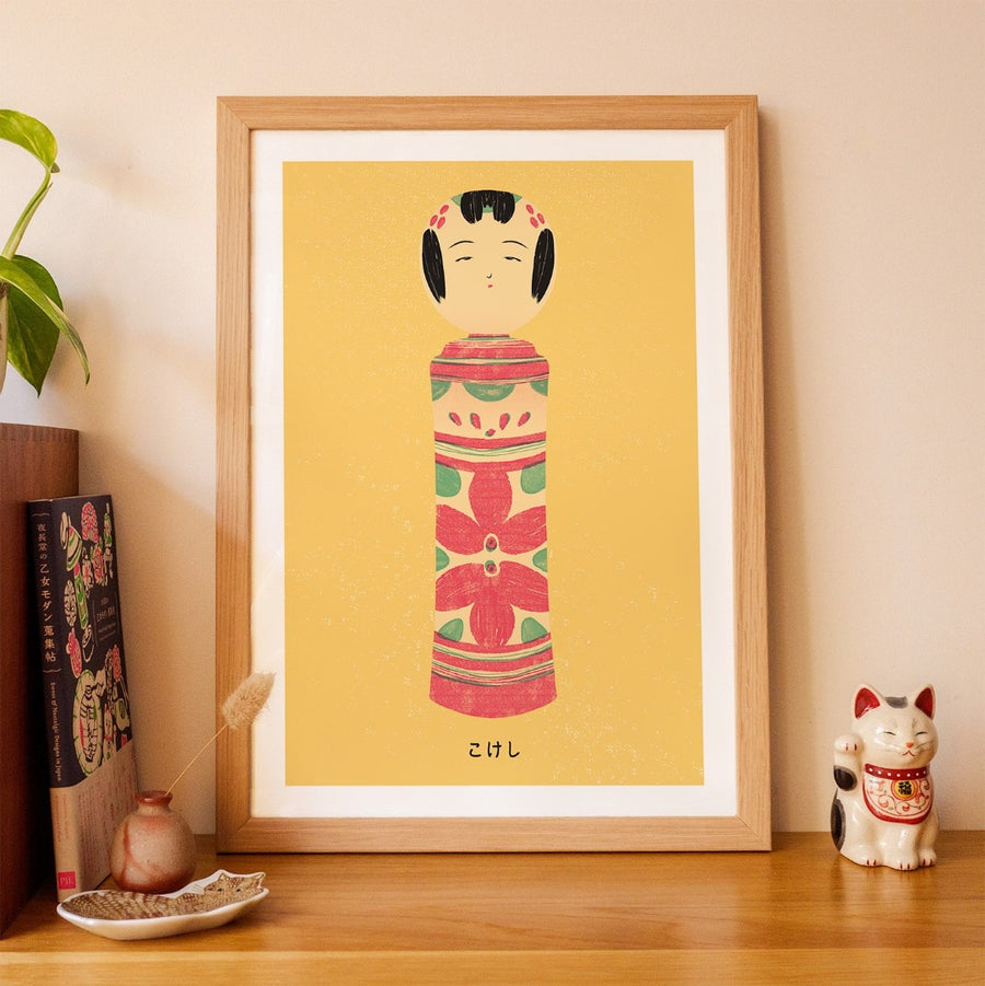 Neko Box Japanese Art Kokeshi Wood Craft Tradition Print A3 Framed
