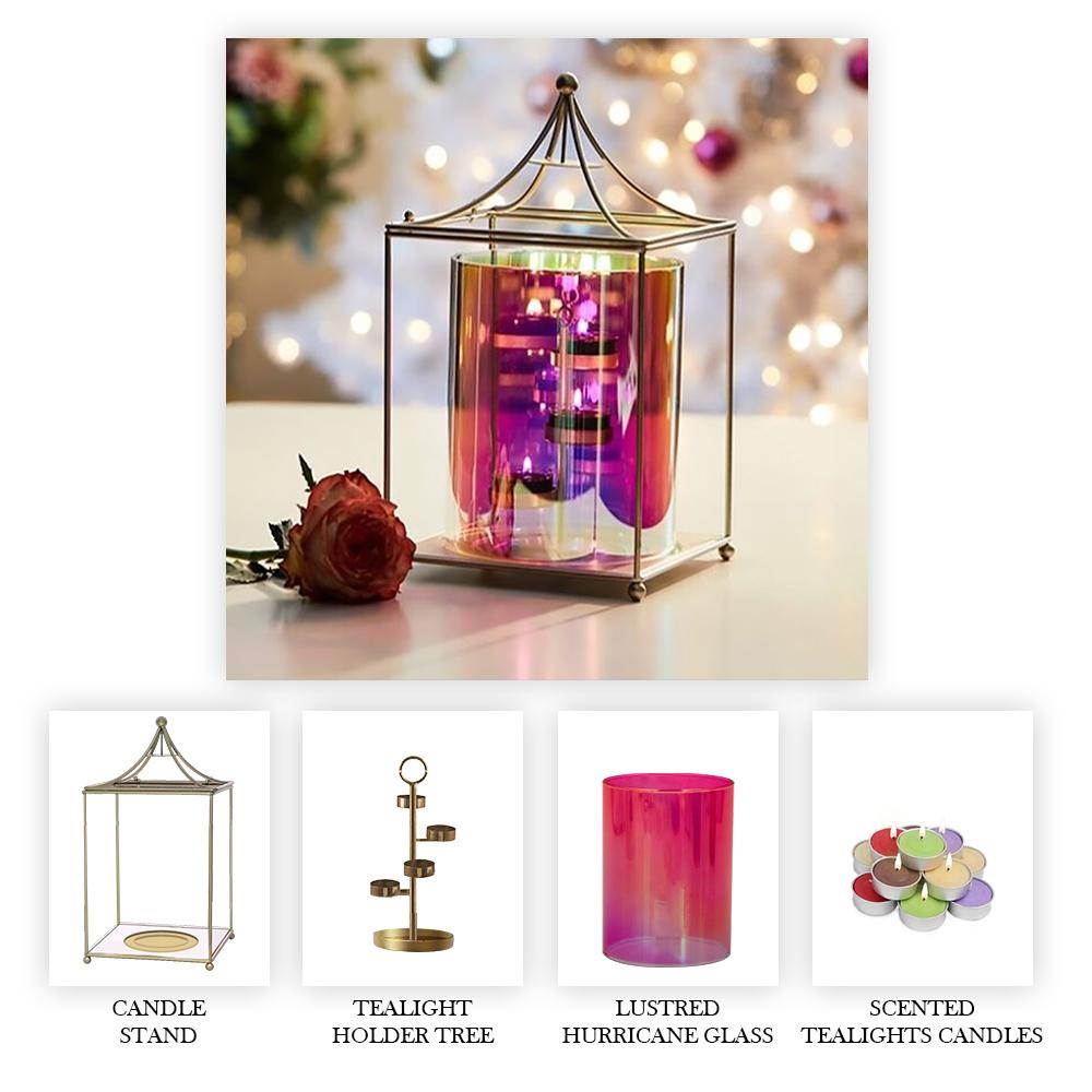 Scented Candle Online India Lighthouse Candle Fiesta Hurricane Candle Centrepiece (Includes Gold Metal Stand, Glass Hurricane, Tealight Holder Tree and Tealight Candles) Candle for Decoration