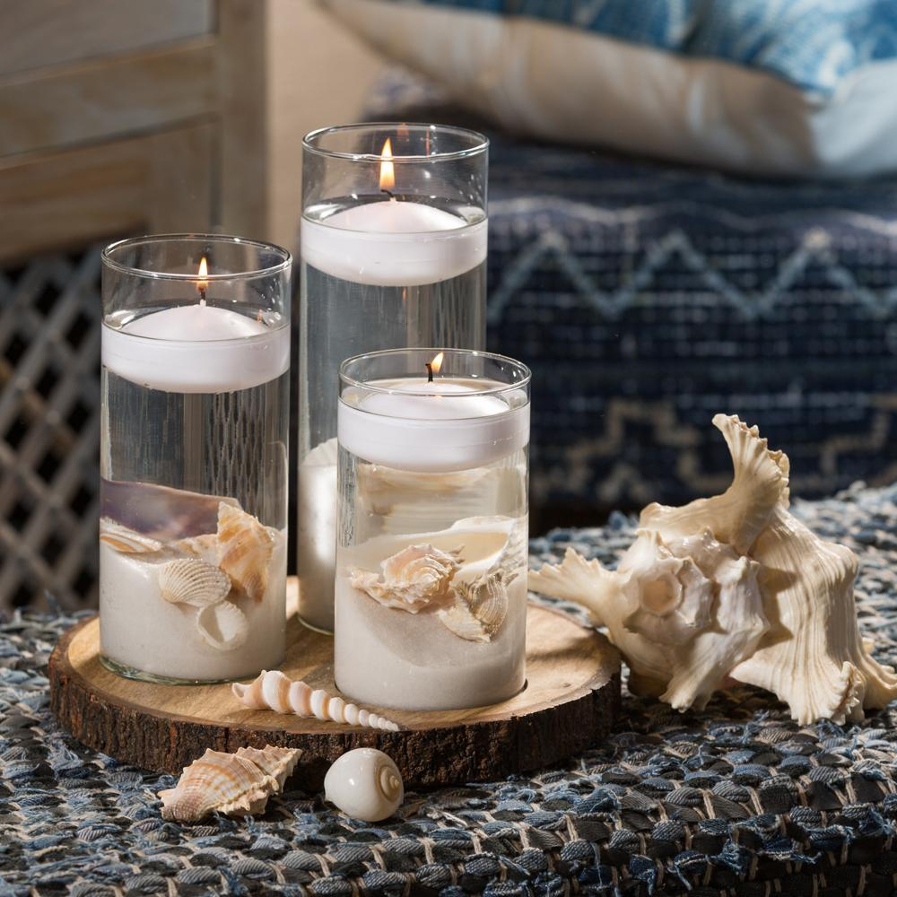 Scented Candle Online India Lighthouse Candle Floating Candle Holders Set of 3 (with Glasses, Candles, Wooden Tray, Sand and Sea shells INCLUDED) Candle for Decoration