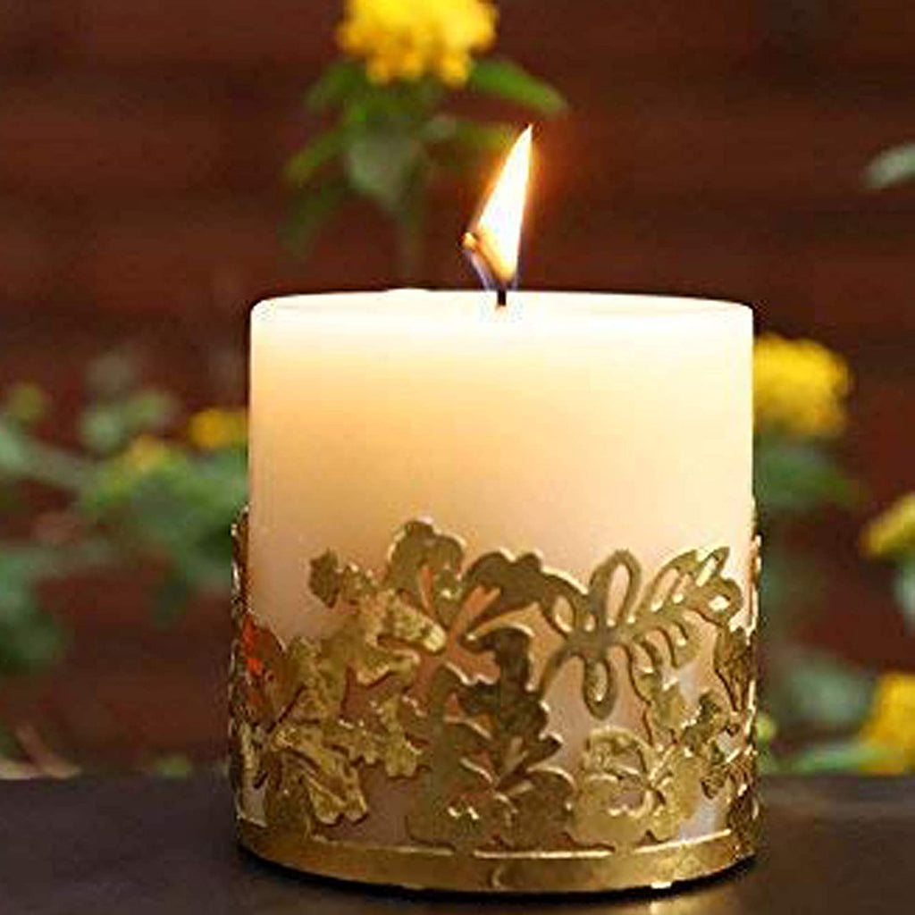 Scented Candle Online India Lighthouse Candle Scented Candle Pillar with Floral Metal Holder Candle for Decoration