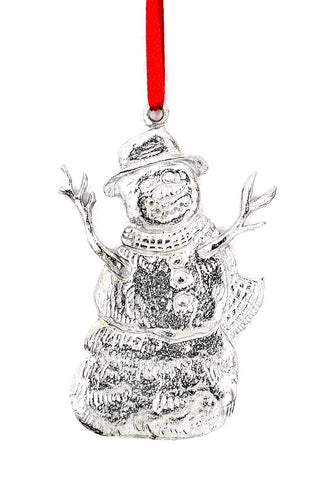 1009 Snowman Snow Winter Wonderland Christmas Holiday Ornament Pewter - House of Morgan Pewter