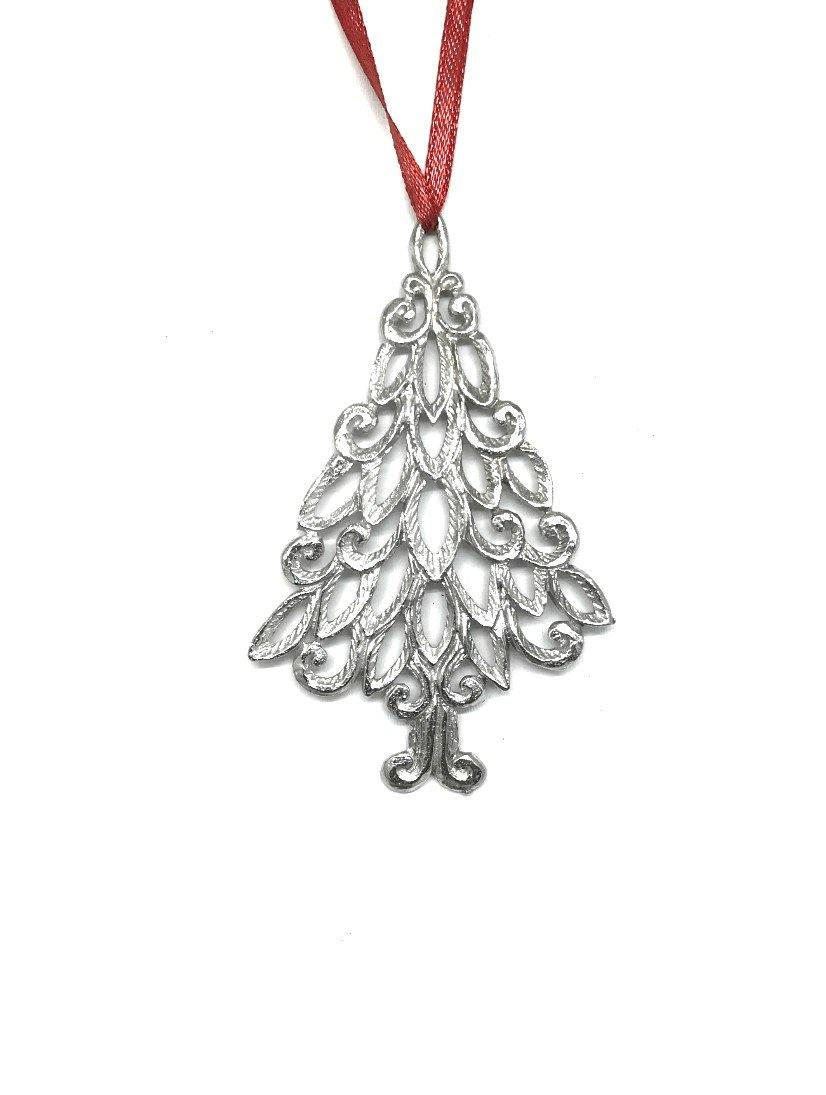 1019 Elegant Christmas Tree Winter Wonderland Christmas Holiday Ornament Pewter - House of Morgan Pewter