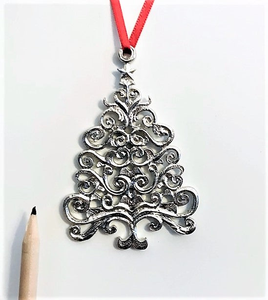 1020 Scroll Christmas Tree Holiday Ornament Pewter - House of Morgan Pewter