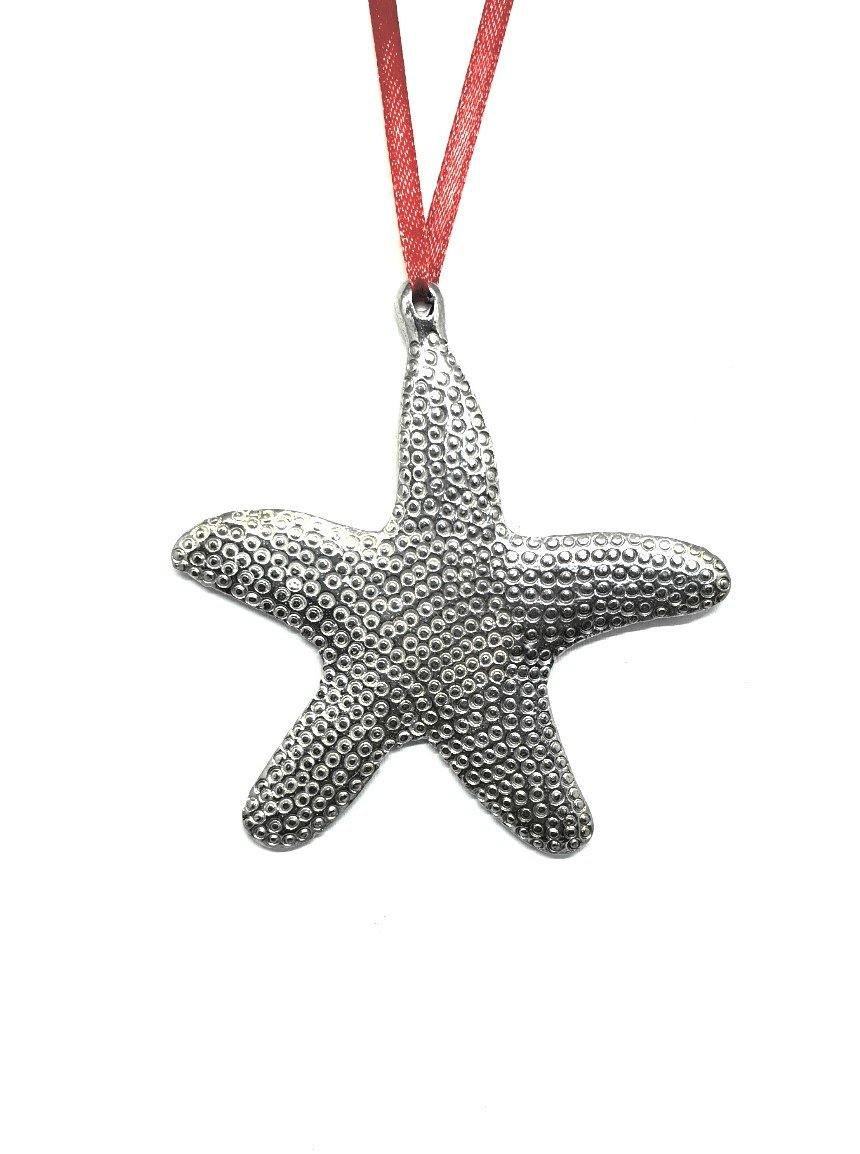1030 Starfish Seashell Beach Ocean Island Keepsake Holiday Christmas Ornament Pewter - House of Morgan Pewter