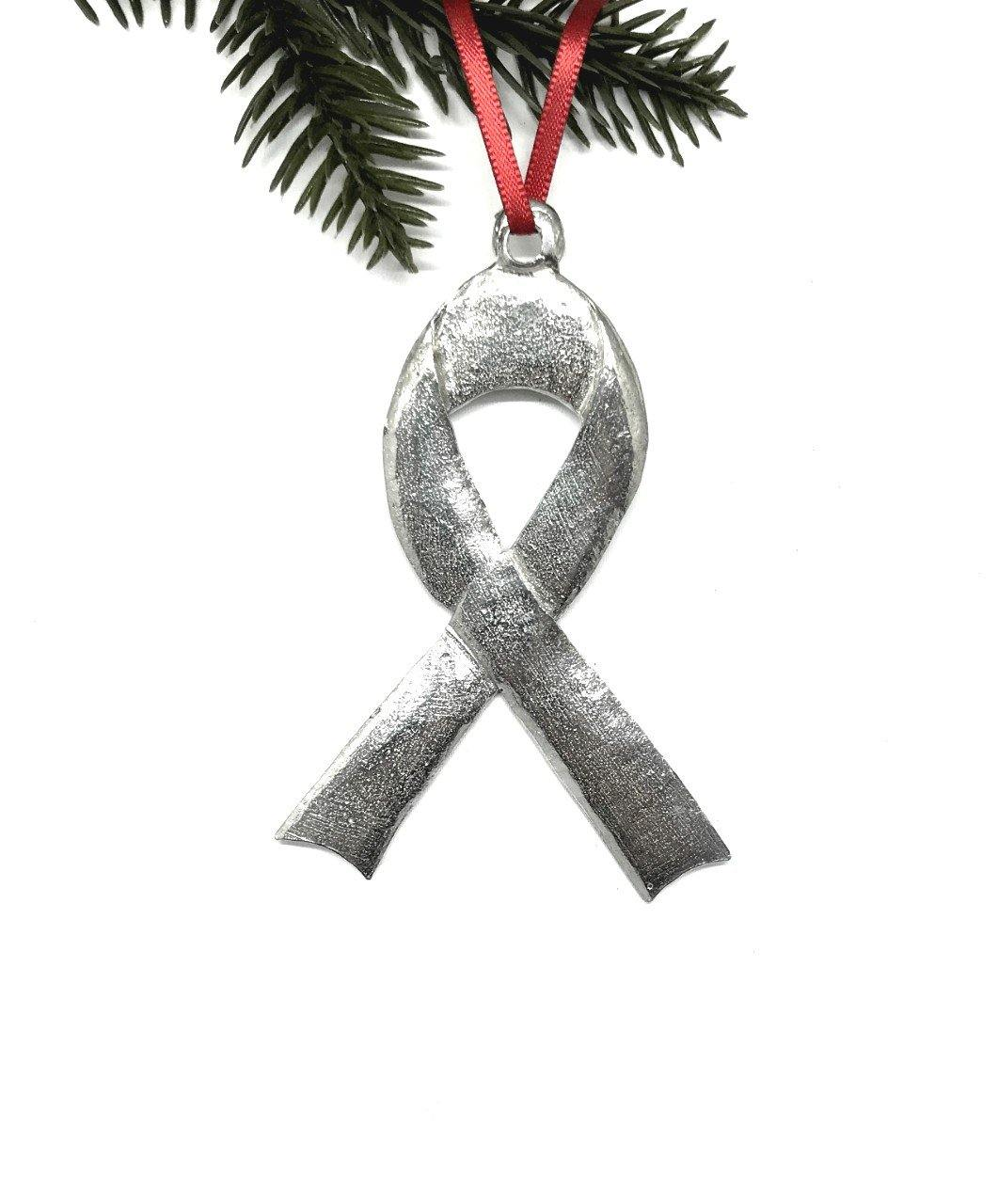 1043 Awareness Ribbon Charity Fundraisers Christmas Holiday Ornament Pewter - House of Morgan Pewter
