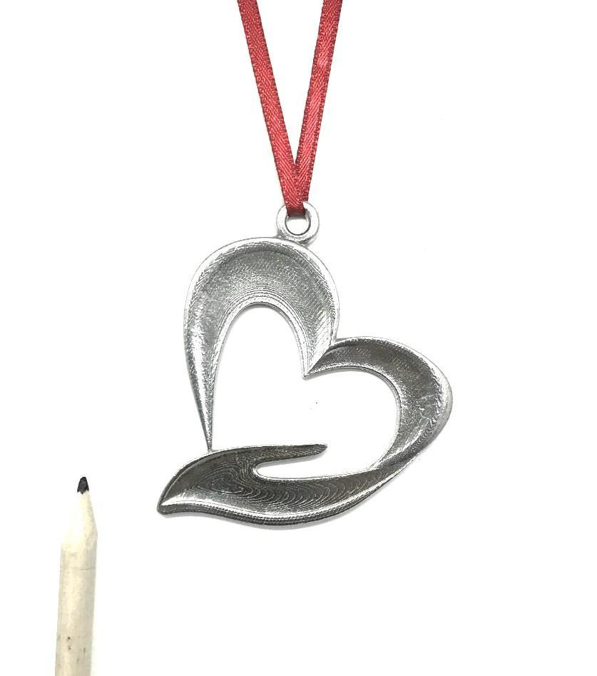 1062 Heart Hand Hospice Volunteer Therapist Physician MD Christmas Holiday Ornament Pewter - House of Morgan Pewter
