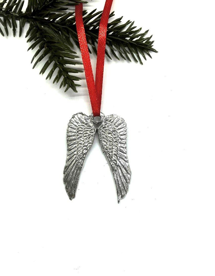 1063 Guardian Angel Wings Memorial Remembrance Keepsake Christmas Ornament Pewter - House of Morgan Pewter